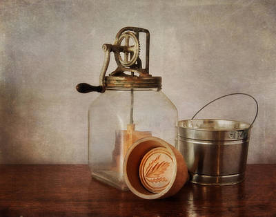 Vintage Butter Churn And Mold Poster by David and Carol Kelly