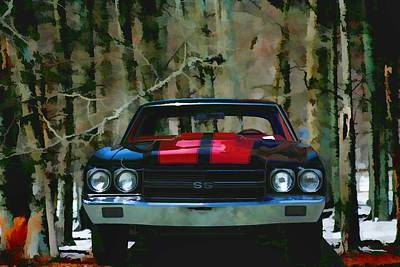 Vintage Car Art Chevy Chevelle Ss Watercolor Poster by Lesa Fine