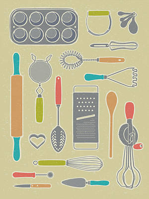 Vintage Cooking Utensils Poster by Mitch Frey
