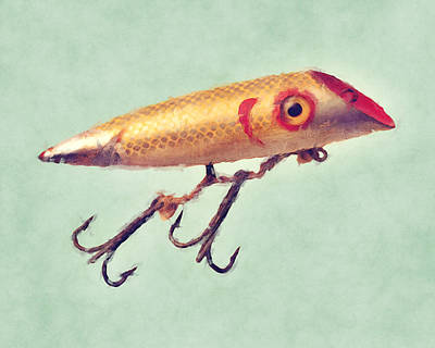 Vintage Fishing Lure Poster by Flo Karp