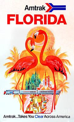 Vintage Florida Amtrak Travel Poster Poster by Jon Neidert