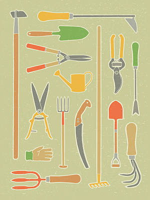Vintage Garden Tools Poster by Mitch Frey