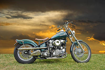 Vintage Harley Knuckle Head Poster by Dave Koontz
