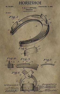 Vintage Horseshoe Patent Poster by Dan Sproul