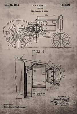 Vintage John Deere Tractor Patent Poster by Dan Sproul