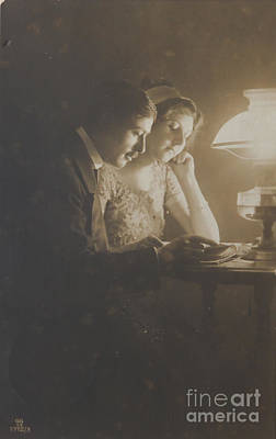 Vintage Loving Couple Reading With Oil Lamp Poster by Patricia Hofmeester