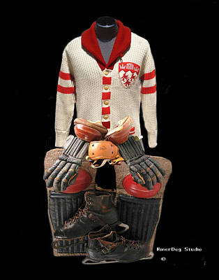 Vintage Mcgill Sweater And Hockey Equipment Poster by Spencer Hall
