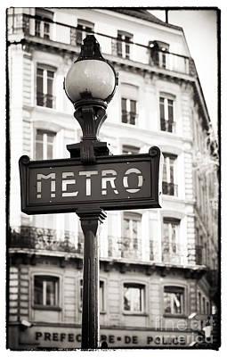 Vintage Paris Metro Poster by John Rizzuto