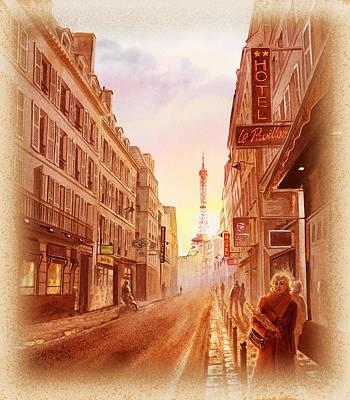 Vintage Paris Street Eiffel Tower View Poster by Irina Sztukowski