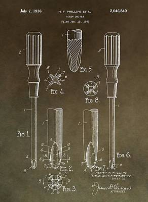 Vintage Phillips Screwdriver Patent Poster by Dan Sproul