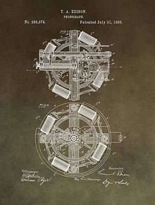Vintage Phonograph Patent Poster by Dan Sproul