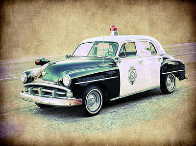 Vintage Plymouth Cop Car Poster by Steve McKinzie