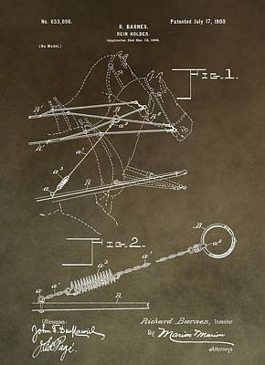 Vintage Rein Holder Patent Poster by Dan Sproul