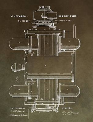 Vintage Rotary Pump Patent Poster by Dan Sproul