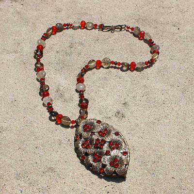 Vintage Ruby Rhinestone Flower Brooch Pendant Necklace 3633 Poster by Teresa Mucha