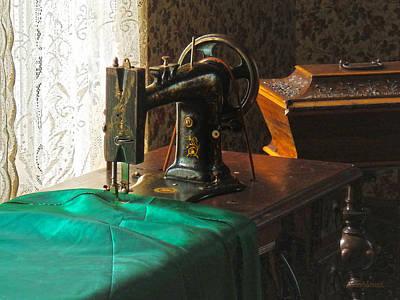 Vintage Sewing Machine Near Window Poster by Susan Savad