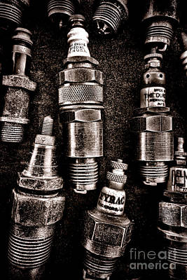 Vintage Spark Plugs Poster by Olivier Le Queinec