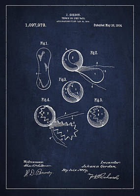 Vintage Tennis Ball Patent Drawing From 1914 Poster by Aged Pixel