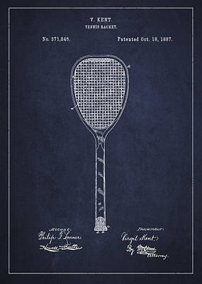 Vintage Tennnis Racket Patent Drawing From 1887-navy Blue Poster by Aged Pixel