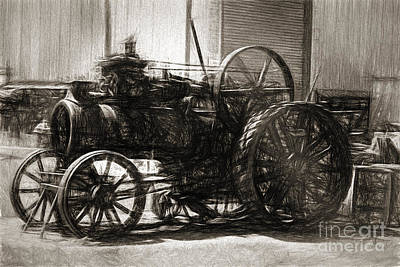 Vintage Tractor Drawing In Industrialised 1900s Poster by Jorgo Photography - Wall Art Gallery