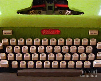 Vintage Typewriter - Painterly Poster by Wingsdomain Art and Photography
