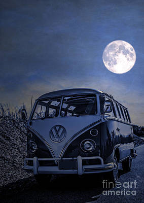 Vintage Vw Bus Parked At The Beach Under The Moonlight Poster by Edward Fielding