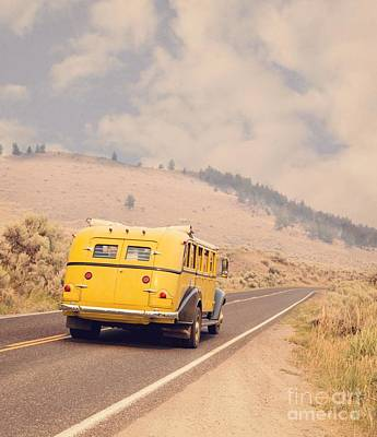 Vintage Yellowstone Bus Poster by Edward Fielding