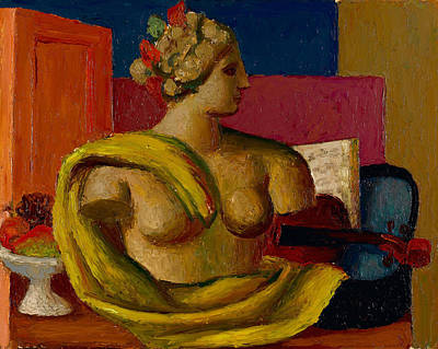 Violin And Bust Poster by Mark Gertler