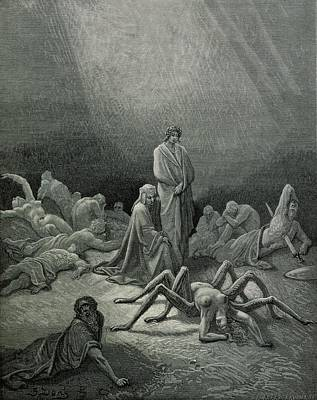 Virgil And Dante Looking At The Spider Woman, Illustration From The Divine Comedy Poster by Gustave Dore