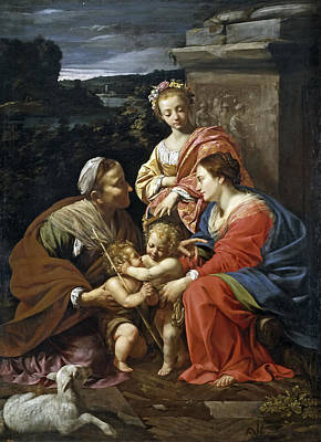 Virgin And Child With Saint Elizabeth The Infant Saint John And Saint Catherine Poster by Simon Vouet