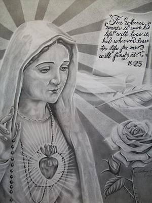 Virgin Mary With Flower Poster by Anthony Gonzalez