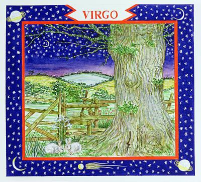 Virgo Wc On Paper Poster by Catherine Bradbury