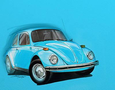 Volkswagen Beetle Vw Blue Poster by Etienne Carignan