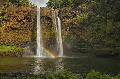 Wailua Falls Rainbow Poster by Brian Harig