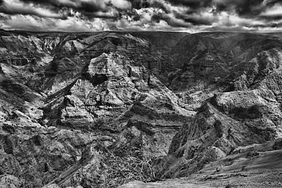 Waimea Canyon Lookout Black And White Poster by Douglas Barnard