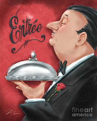 Waiter With Entree  Poster by Shari Warren