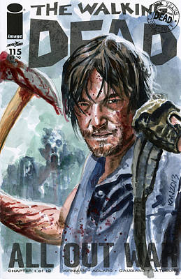 Walking Dead Sketch Cover Daryl Poster by Ken Meyer jr