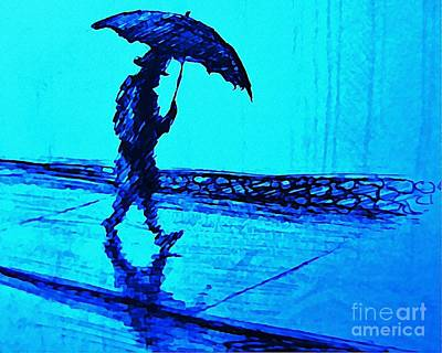 Walking In The Rain Poster by John Malone