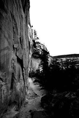 Walking Into Sipupu Canyon Black And White Poster by Jeff  Swan