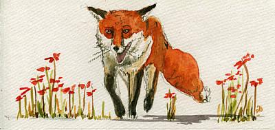 Walking Red Fox Poster by Juan  Bosco