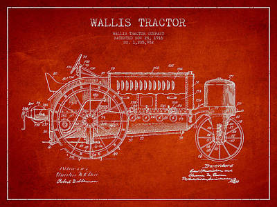 Wallis Tractor Patent Drawing From 1916 - Red Poster by Aged Pixel