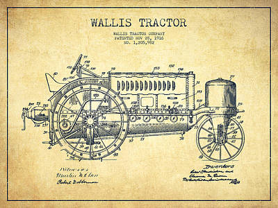 Wallis Tractor Patent Drawing From 1916 - Vintage Poster by Aged Pixel