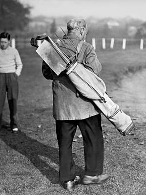 War Time On The Golf Course Poster by Underwood Archives