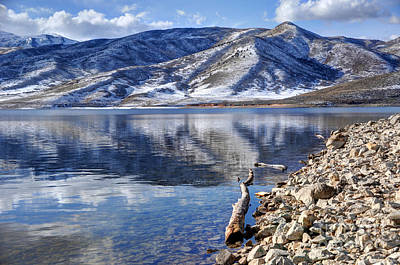 Wasatch Range Foothills Reflected In Deer Creek Reservoir Poster by Gary Whitton