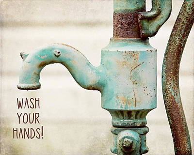 Wash Your Hands Child's Bathroom Decor Poster by Lisa Russo