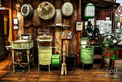 Washing Machines Of Yesteryear Poster by Kaye Menner