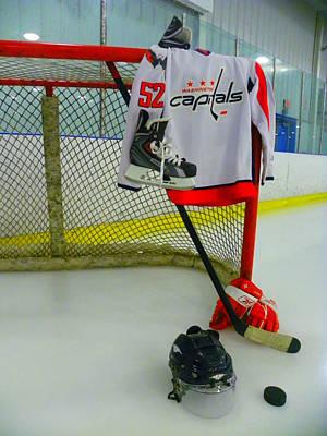 Washington Capitals Mike Green Away Hockey Jersey Poster by Lisa Wooten
