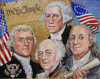 Founding Fathers Washington Jefferson Adams And Franklin Poster by Jan Mecklenburg