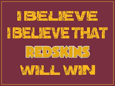 Washington Redskins I Believe Poster by Joe Hamilton