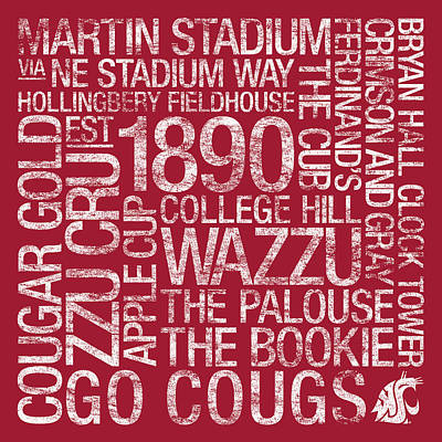 Washington State College Colors Subway Art Poster by Replay Photos